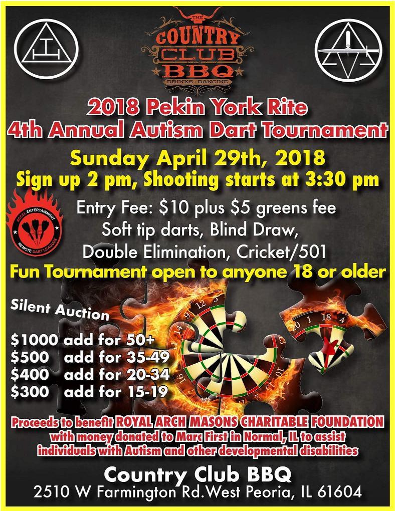 4th Annual Autism Dart Tournament 4/29/2018